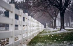 Fence Snow Snowflakes Trees Nature