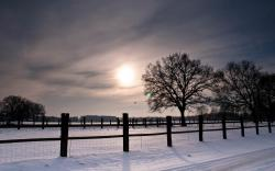roads nature landscapes winter snow fence fields trees sunset sunrise sky clouds wallpaper background