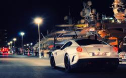 Ferrari 599 GTB Fiorano Night Monaco City Port Yacht Photo HD Wallpaper