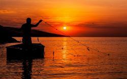 Fisherman at Sunset HQ Wallpaper