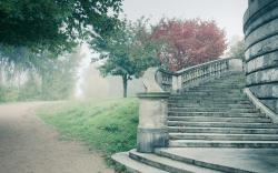 Fog road stairs