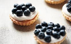 Food Cake Cream Blueberries Tasty