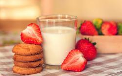 Food Milk Breakfast Cookies Dessert Strawberry Berry