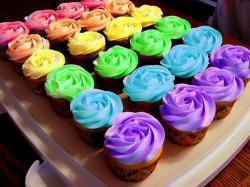 food rainbow muffins