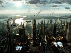 Free Download Wallpapers Future City from Above 1024x768px