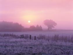 Sunrise over frosty farmland