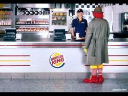 Burger King. It just tastes better. Ronald McDonald visits Burger King, another example