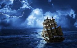 Ghost ship row sea
