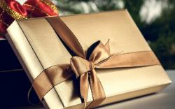Holiday New Year Gift Box Ribbon Bow HD Wallpaper