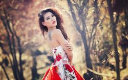 Nature Bokeh Lovely Model Asian Girl HD Wallpaper