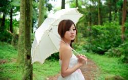 Girl Asian Rain Mood