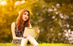 Girl Asian Redhead Park Tablet Mood