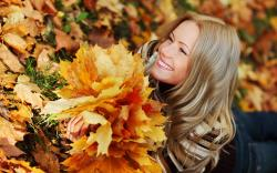 Girl autumn leaves