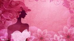 girl vector flowers background