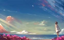 Girl beach fly a kite