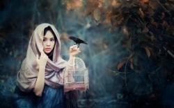 Girl Bird Cage