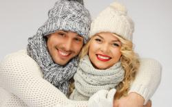 Girl Blonde Boy Smile Winter