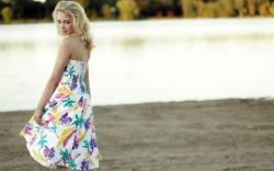 Girl Blonde Dress Lake