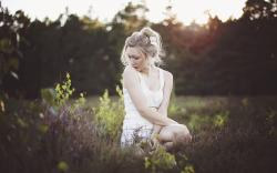 Girl Blonde Flowers Morning Meadow Grass