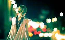 Beautiful Girl Night Lights Bokeh