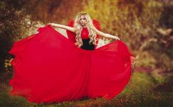 Girl Blonde Wreath Red Dress Mood