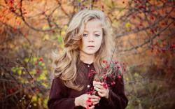 Girl Children Blonde Blue Eyes Autumn Mood