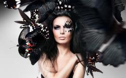 Butterflies Art Brunette Woman HD Wallpaper