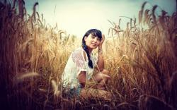 Girl Brunette Field Wheat