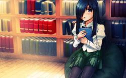 Girl Brunette Library Books Anime