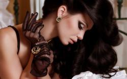 Girl Brunette Model Pendant Earrings Jewelry Gloves