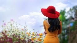 Girl Brunette Yellow Dress Red Hat Flowers HD Wallpaper