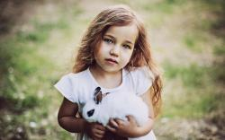 Girl Child Rabbit Mood