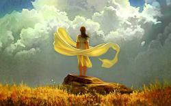 Girl clouds art