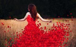 Woman flower petals dress