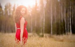 Girl Dress Red Field Light