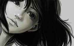 Girl face monochrome art