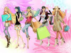 Fashion Girl Cartoon Wallpaper fashion girls wallpapers