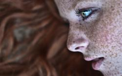 Girl Freckles Face Close-Up