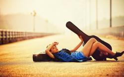 Girl Guitar Mood Fashion