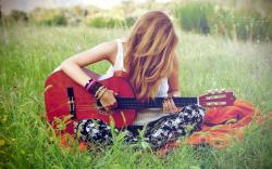 girl guitar music wallpaper background