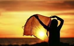 Girl hijab sunset