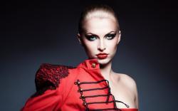 Girl Jacket Red Lips Blue Eyes Fashion