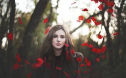 Girl Look Petals Red