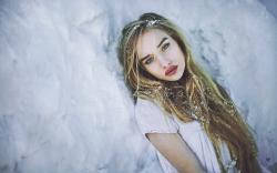 Lovely Blonde Girl Model Winter