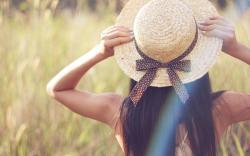 Mood, girl, brunette, hat, bow, ribbon, hand, nature, plant, grass, green, blur, background