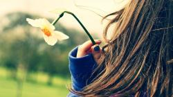 Flower Daffodil Girl Mood HD Wallpaper