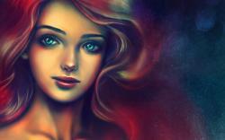 Portrait Girl Red Hair Art Design HD Wallpaper