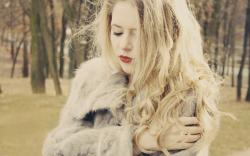Girl Red Lips Blonde Hair