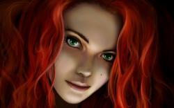 Redhead Girl Fantasy Artwork HD Wallpaper