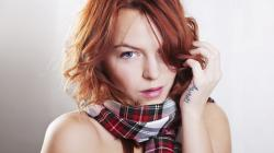 Girl Redhead Blue Eyes Scarf Portrait Tattoo